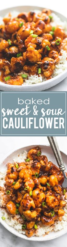 Baked Sweet & Sour Cauliflower - a healthy 30 minute meatless meal even meat-lov. - Baked Sweet & Sour Cauliflower – a healthy 30 minute meatless meal even meat-lovers will crave. Whole Food Recipes, Cooking Recipes, Healthy Recipes, Meatless Dinner Ideas, Healthy Vegetarian Recipes, Meatless Whole 30 Recipes, Whole30 Recipes, Vegan Keto, Paleo Dinner