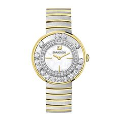 Lovely Crystals Two Tone Stainless Steel Ladies Watch Swarovski Swan, Swarovski Crystals, Swarovski Watches, Swan Logo, Crystal Bracelets, Bracelet Watch, Quartz, Stuff To Buy, Accessories