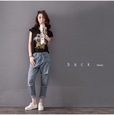 Boyfriend Baggy Jeans Ankle Women 5xl Decorated Harem Pants Hip Hop Ripped For Retro Washed Plus Size Bell Bottom Broderie-in Jeans from Women's Clothing & Accessories on Aliexpress.com   Alibaba Group