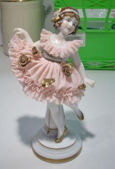 Dresden Lace Muller Volkstedt Germany Little Girl in Pink Tutu Figurine   eBay