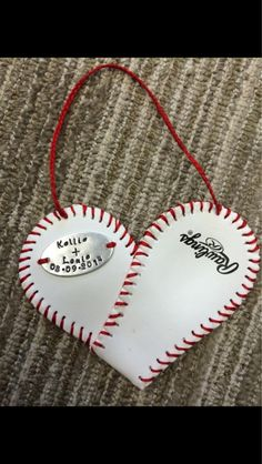 Baseball heart ornament with handstamped metal disc by HandcraftedByJenBing on Etsy