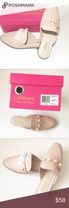 CATHERINE MALANDRINO Nude Faux Pearl Flats Women 8 CATHERINE MALANDRINO Nude Faux Pearl Flats Women 8  BRAND: Catherine Malandrino SIZE: 8 COLOR: Nude MATERIAL: All Man Made CONDITION: NEW with box MSRP: $98 PRODUCT DETAILS: Mules, slip on style. Wide. Four faux pearl detail. All man made material. Made in China APPROXIMATE MEASUREMENTS: Heel: 1 inch Length: 10 inches Catherine Malandrino Shoes Mules & Clogs