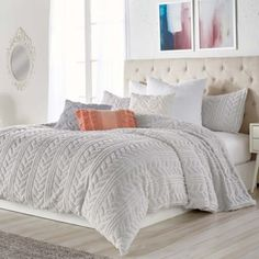 Shop for peri home at Bed Bath & Beyond. Buy top selling products like Peri Home Dayna Window Curtain Panels and Peri Home Cut Geo Comforter Set. White Comforter Bedroom, Grey Comforter Sets, Neutral Bedding, White Bedroom Furniture, Queen Bedding Sets, Luxury Bedding Sets, Bedroom Decor, Rustic Comforter Sets, White Bed Comforters