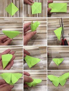 motýlek z papíru postup Spring School, Hogwarts, Origami, Diy And Crafts, Plant Leaves, Presents, Easter, Create, Gifts