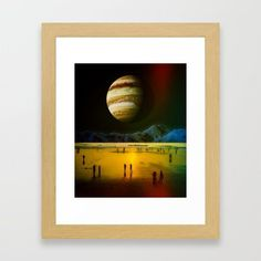 Yellow Beach Framed Art Print by seamless Beach Frame, Surreal Collage, Sci Fi Art, Wood Colors, Dark Wood, Framed Art Prints, Wall Tapestry, Surrealism, Digital Art