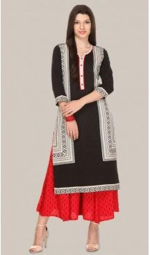Cotton Fabric Straight Style Readymade Kurtis in Black | FH529480019 #kurti, #kurtas, #tunics, #top, #fashion, #clothing, #women, #heenastyle, #ladies, @heenastyle , #teenagers, #girls, #style, #mode, #mehendi, #longtop, #readymade , #boutique, #cotton, #casual, #formal, #indian, #straight