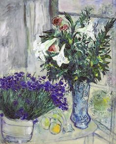 Marc Chagall, Lilies and Blueberries Marc Chagall, Oil Painting Abstract, Painting & Drawing, Watercolor Artists, Painting Lessons, Watercolor Painting, Chagall Paintings, Oil Paintings, Landscape Paintings