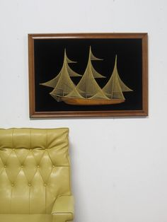 1970s Large String Art / Boat Ship / Gold Thread by foundshop, -SOLD-