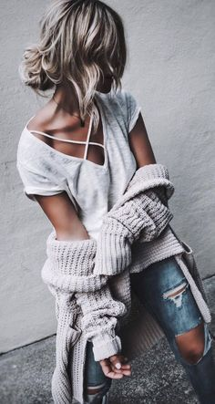 how to style a cardigan : top + rips