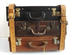 Rare Vintage 1947 Marked with British Broad Arrow Leather Trunk / Luggage Straps