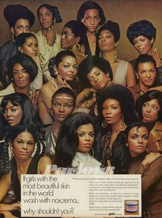 "1969 | This ad appeared in Black women's magazines, in 1969: ""These are the girls of Black Beauty—New York's newest model agency. They weren't born models. Every girl learned how to coax every lash, every pore into being its most beautiful. Shouldn't you share the beauty routine that helps make their skin so flawless? Wash with Noxema, as they do, instead of soap. Noxema softens as it cleans. Fights dryness. Rinses clean. Medicates to help clear surface blemishes with an exhilarating ting."""