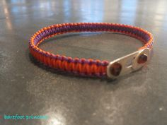 """gently summer"" bracelet in purple and orange silk cord & silver 925 clasp"