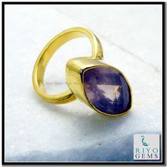 Rose Quartz Gems Stones 18 C Y.G. Plated Sovereign Ring Sz 8 Gprroq8-6821 http://www.riyogems.com