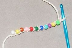 crochet bead jewelry using just the chain stitch, pony beads used for tutorial..see next pin