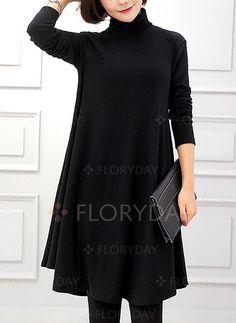 22eac59035901 Dress -  40.99 - Solid High Neckline Long Sleeve Knee-Length A-line Dress  (1955195346)