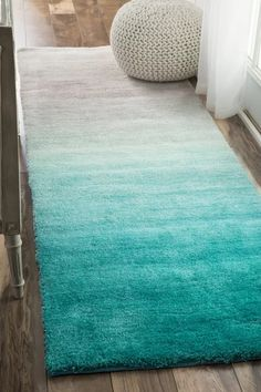 Shop the Handmade Ombre Shag Rug - Color: Turquoise; Size: x by NuLoom. Made from Polyester in China. This Hand Tufted Turquoise rug has a 1 pile_height, perfect for a soft yet durable addition to your home. Mermaid Room Decor, Beach Room Decor, Beach House Decor, Teen Beach Room, Beach Theme Office, Teenage Beach Bedroom, Beach Decor Bathroom, Beach Home Decorating, Beachy Bathroom Ideas