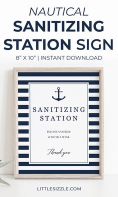 Sanitizing Station Party Sign Printable Nautical Theme Summer Party Sanitizing Station Sign Printable by LittleSizzle. Are you hosting a nautical themed event? Help your guests stay safe and politely remind them to clean their hands and wear a mask with this Sanitizing Station sign. This sign would look great on weddings, baby showers, bridal showers and anniversaries without sacrificing style. #sanitizingstationsign #nauticalpartydecor #covid19 #wearamasksign #washyourhandssign #summerpartyidea Baby Shower Printables, Party Printables, Baby Shower Themes, Shower Ideas, Navy Baby Showers, Wedding Signs, Wedding Ideas, Creative Party Ideas, Summer Bridal Showers