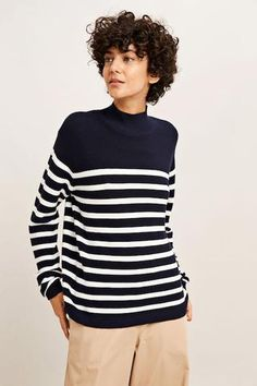 Turtle neck sweater crafted from fine cotton, featuring long sleeves and horizontal stripe pattern. Scandi Style, Spring Summer 2018, Knitwear, Women Wear, Turtle Neck, Stylish, Lady, Long Sleeve, Sweaters