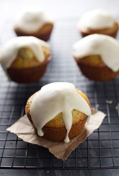 These lemon muffins are like poppy seed muffins but they have the addition of healthy chia seeds and a smooth honey glaze.