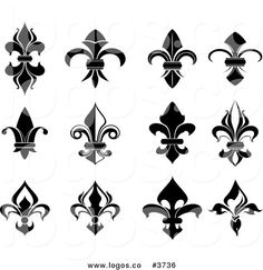Royalty free clipart illustration of fleur de lis collage logo. This Fleur De Lis stock logo image was designed and digitally rendered by Vector Tradition SM. French Symbols, Tattoo Fleur, Texture Web, 2. Stock, Royalty Free Clipart, Symbol Design, Lesage, Symbolic Tattoos, Tattoos With Meaning