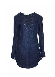 Vestido jeans com ilhós - Esquire Camisa Jeans Feminina 24e6612a6c720