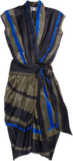 Great dress - LANVIN STUNNING silks Faux Wrap Dress     dressmesweetiedarling