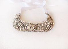 Rhinestone Collar Necklace Detachable Peter Pan by aynurdereli, $37.00 #handmade #fashion #collar #sale #women #trend