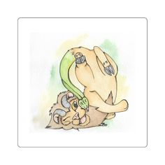 Cute watercolor sticker of a Chimera playing with it's Snake tail.