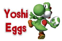 Mario Kart -- Yoshi Egg Label    I printed this in a 4X6 and put it in a frame to label the canister full of Yoshi Eggs on the Power Up Buffet!    I found putty eggs on Amazon.com -- However, I would not suggest putty. Wowzers was it a mess. I'm so glad that I made sure the kids did not get it until they were leaving. My son made a MESS with his!!!!