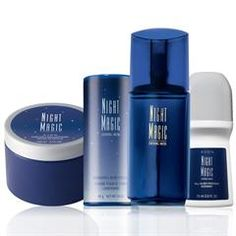 Night Magic 4-Piece Layering Set, including cologne, perfumed skin softener, talc, and deod.  Great price for gift giving!  Only 10.99!