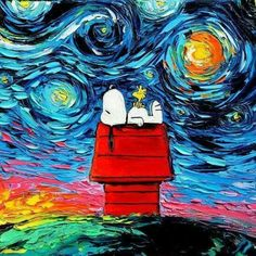 【スヌーピー 史努比 Snoppy】 Snoopy Art - Peanuts Cartoon Starry Night print van Gogh Never Saw Woodstock by Aja and inches choose size Snoopy Love, Snoopy Et Woodstock, Happy Snoopy, Peanuts Cartoon, Peanuts Snoopy, Cartoon Cartoon, Cultura Pop, Vincent Van Gogh, Pintura Online