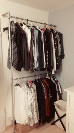 Simple DIY - cheap and minimalistic solution if you don't have much space for a big closet. It will cost about 50€.