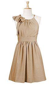 Beige poplin dress from eShakti