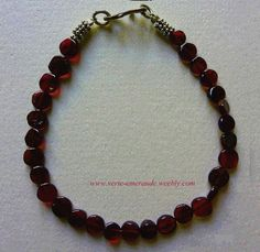 Bracelet Perles en Grenat Rouge Arg 925. Silver Beads Garnet Bracelet