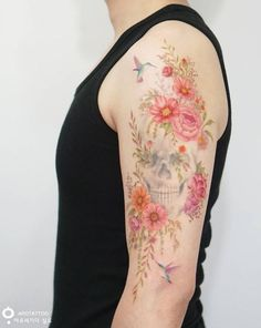 Flying Hummingbirds with Flowers and Skull Tattoo