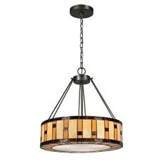 Dale Tiffany Mojave Tiffany 3-Light Dark Bronze Pendant-STH13007 - The Home Depot