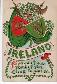 St Patrick Day Vintage Postcard - Shamrocks, harp Ireland postcard, Irish post card by sharonfostervintage on Etsy