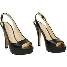 PRADA Leather peep toe sling back sandals found on Polyvore
