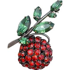 Large, vintage Schreiner rhinestone cherry brooch fancy fruit for vintage Va Voom. Offered at an introductory Sale Price for a short time.