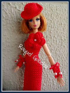#MoçaAntiga #Crochet #Cléa5 #Barbie #Doll #Muñeca #Hat #Chapéu #Sombrero #Vestido #RaquelGaucha: