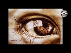 Coffee Painting Tutorial: How to Paint a Realistic Eye using instant coffee - YouTube