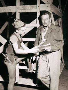 Walt Disney and Bobby Discoll as Peter Pan