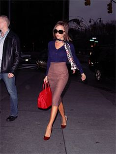 Victoria Beckham  The right bag can make an outfit  And the scarf helps, too
