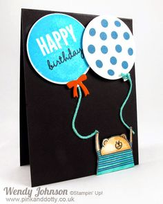 Stampin' Up! Cheerful Critters Birthday Card by Pink and Dotty Z Cards, Pop Up Cards, Kids Cards, Stampin Up Cards, Scrapbook Cards, Scrapbooking, Todays Birthday, Kids Birthday Cards, Kids Corner