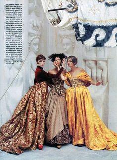 """Entree des Artistes"": Olga Pantushenkova, Kati Tastet and Nelly Schamey as Ballet Russes Dancers and Renaissance Courtesans in Couture by Vincent Darre for Vogue Paris"