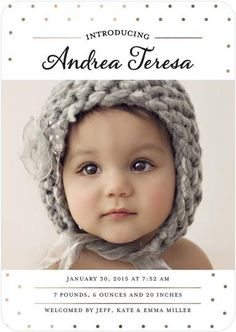 Introduce your baby to the world with a chic, polka dot, foil-accented birth announcement.