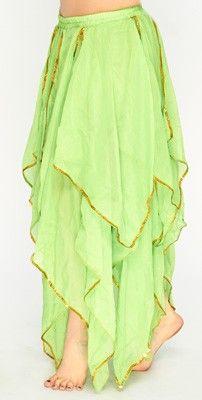 Handkerchief Belly Dance Skirt - LIME GREEN