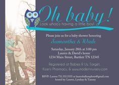 Baby boy blue owl monogram shower by BellaDuchessDesigns on Etsy, $15.00