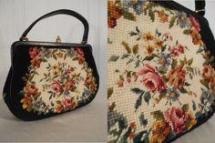 1950s Handbag S// 1950s Tapestry Bag// 1950s Needlepoint Purse// 1940s purse// Floral Tapestry Handbag// 1940s Black Tapestry Bag by RockabillyRavenVtg on Etsy https://www.etsy.com/listing/213947606/1950s-handbag-s-1950s-tapestry-bag-1950s