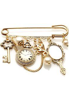 kilt pin (I like the charm on the clasp idea)